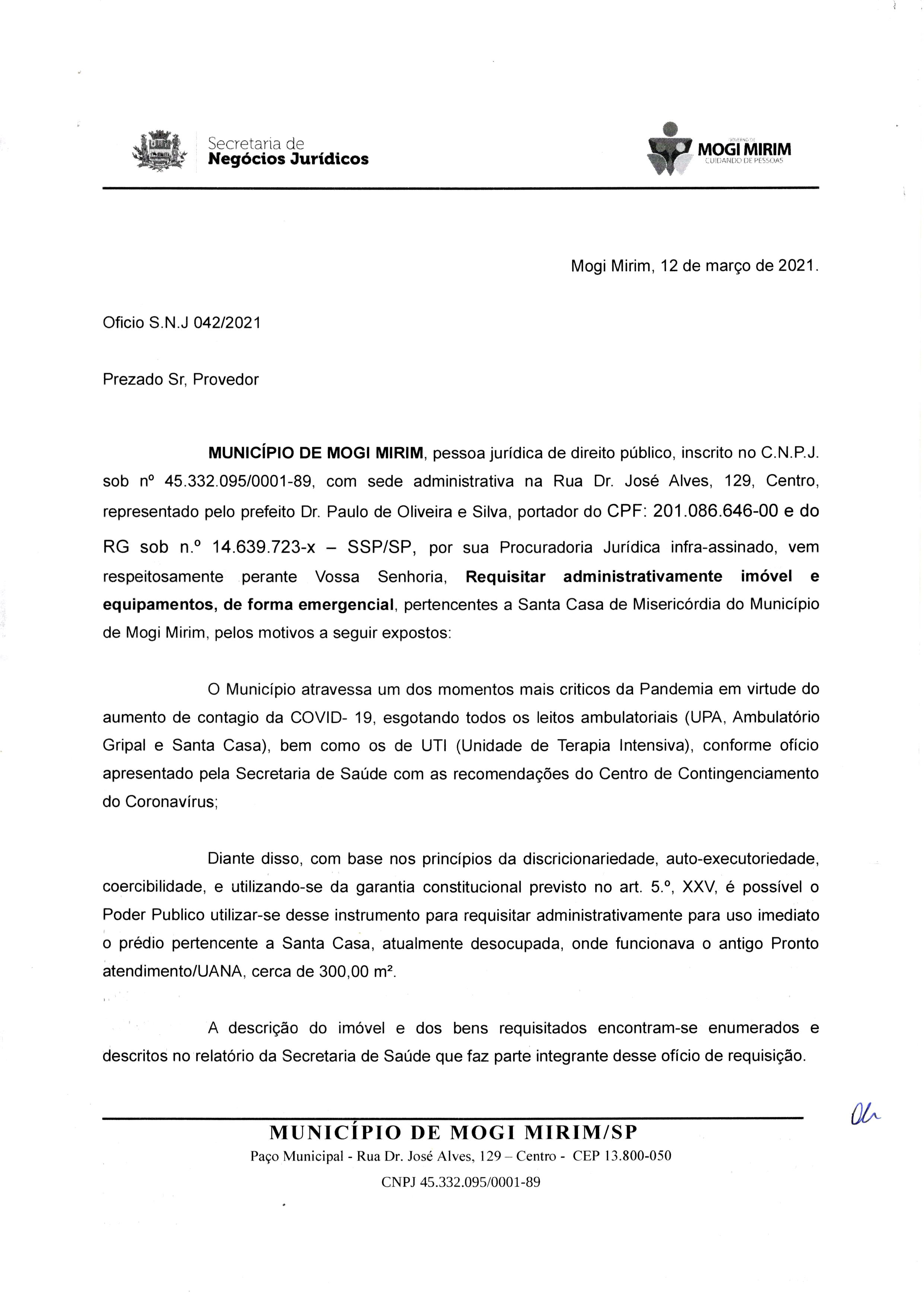 4 - Oficio Prefeitura Solicitando UANA 180 Dias - 12-03-20210001